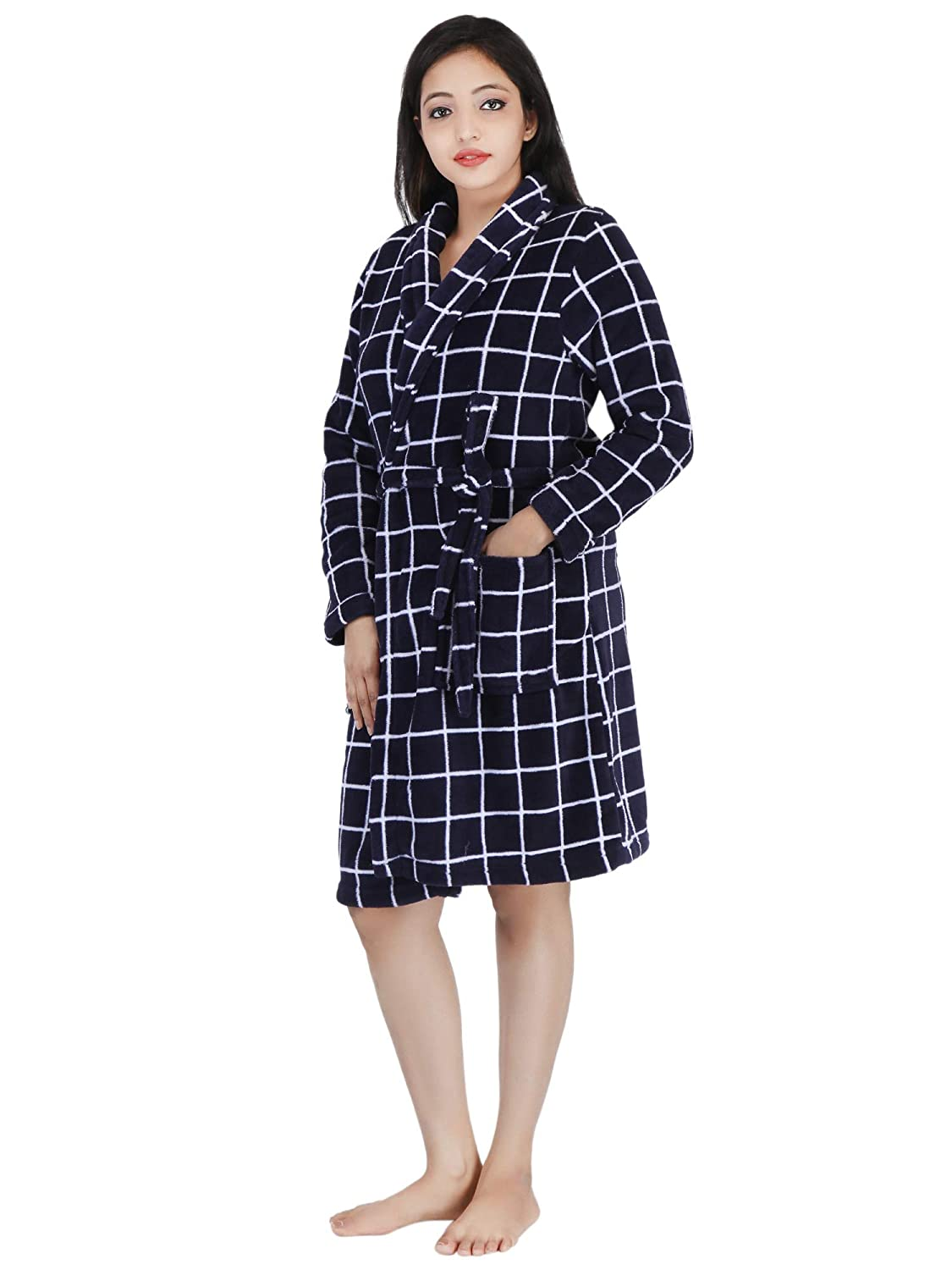 6e1204c112 Buy Linenwalas Super Comfort Unisex Bath Gown Night Gown Pollar Fleece  Checks Bath Robe - Navy Blue   White - XL Large Online at Low Prices in  India ...