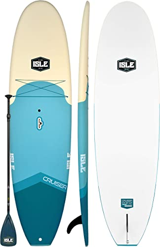 ISLE 10 5 Cruiser Rigid Soft Top Paddle Board Package 32 Wide x 4.5 Thick Extra Stable SUP Lightweight Durable Foam Core Comfort Textured Full Croc Skin Deck Pad Up to 235 LB Capacity