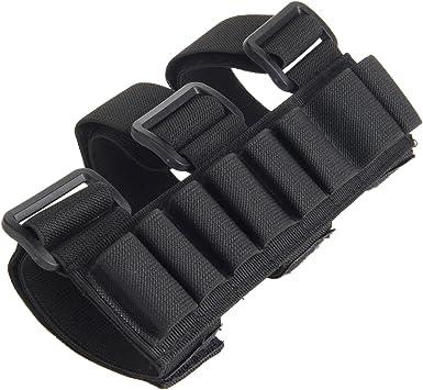 Estuche con sujeción al brazo para 8 cartuchos de escopeta de caza (calibre 12, redondo), Negro: Amazon.es: Deportes y aire libre
