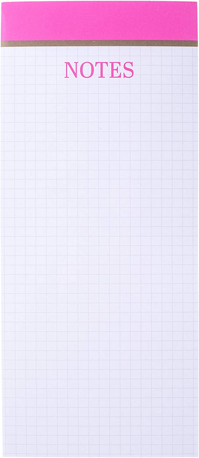 100 Grid-Lined Sheets Graphique Graph Paper Magnetic Notepad Fun Colorful Design w// 2 Reverse-Side Magnets to Hang on Refrigerator or Whiteboard 4 x 9.25 x 0.5