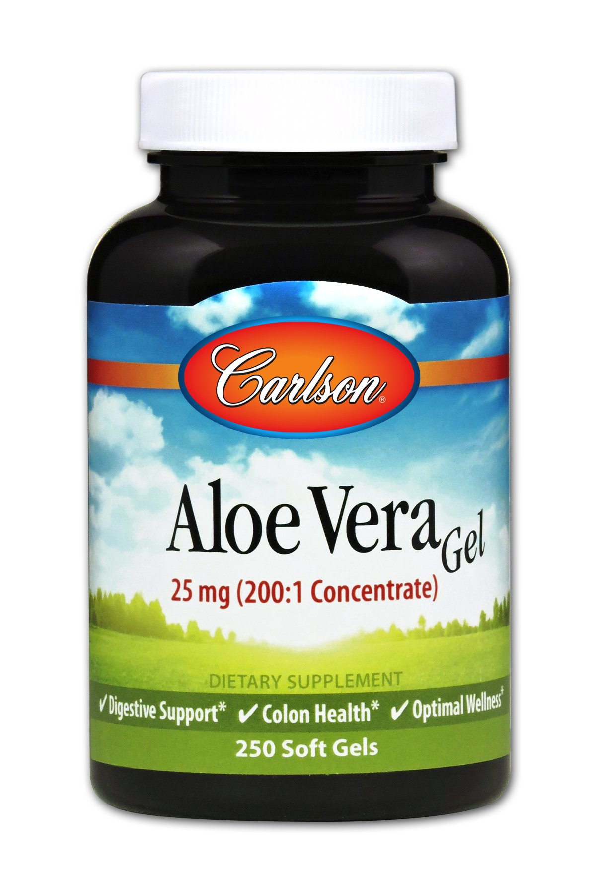 Carlson Aloe Vera Gel 25 mg, 200 to 1 Equivalent to 5,000 mg, 250 Soft Gels