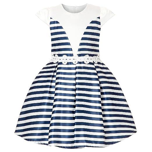 4d80d8b42d ADHS Baby Girl Cotton Blend Sleeveless Knee Length Crew Neck Dresses(Blue