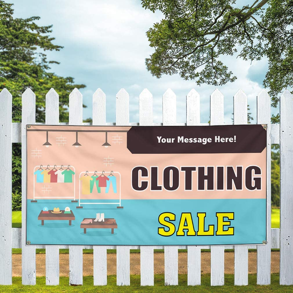 Custom Industrial Vinyl Banner Multiple Sizes Clothing Sale Style D Personalized Text Here Business Outdoor Weatherproof Yard Signs Yellow 4 Grommets 24x60Inches