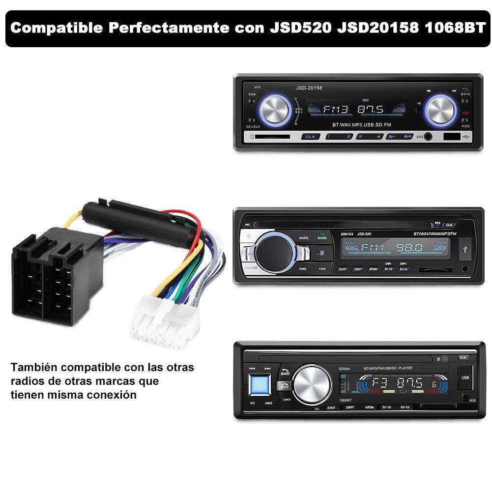 YOHOOLYO Adaptador ISO Universal Convertidor de Cable para Auto Radio Coche 12 Pines Adecuardo para Modelo JSD520 JSD20158 1068BT: Amazon.es: Electrónica