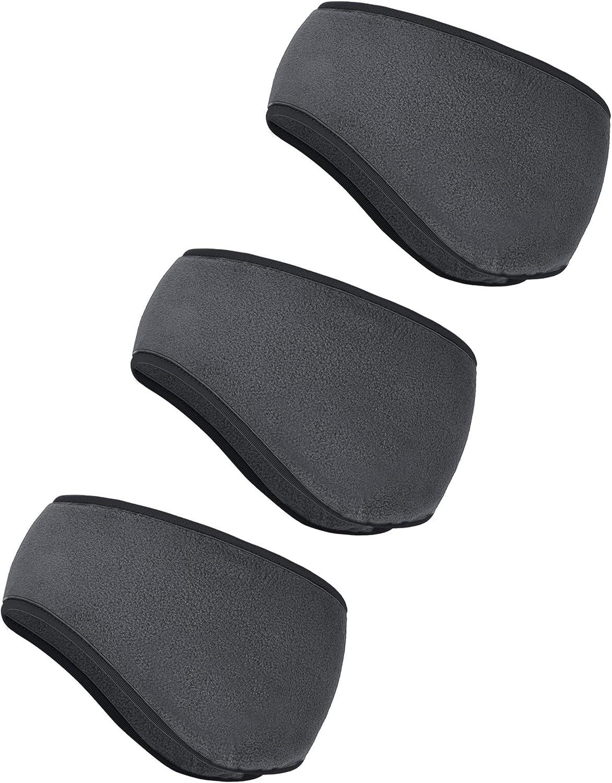 Grey BBTO 3 Pieces Ear Warmer Headband Winter Headbands Fleece Headband for Women Men