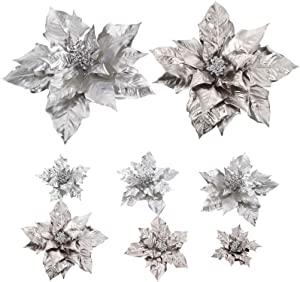 Cloris Art 6pcs Christmas Flowers Poinsettia for Xmas Tree Holiday Decoration, 17 + 14 +10 Inch Artificial Poinsettia Flower Home Indoor Decor(Champagne + Silver)