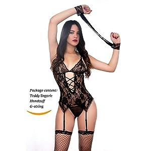 38c94fa487 Amazon.com  WerQueen Women s 4 Pcs Sexy Corset Lace Lingerie Garter ...