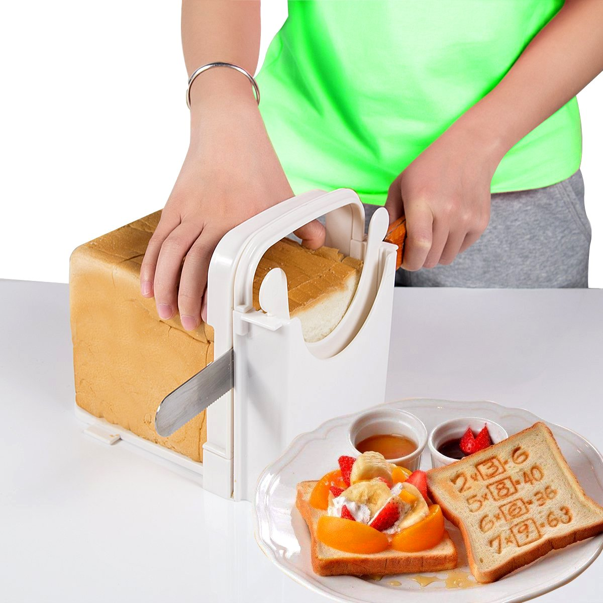 Eon Concepts Bread Slicer Guide For Homemade Bread With Mini Bread Recipe E-Book | Loaf Cutter Machine - Foldable Adjustable & Customizable to 5 Thickness | Bagel / Sandwich / Toast Slicer by Eon Concepts (Image #7)