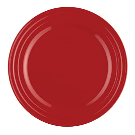 Rachael Ray Dinnerware Double Ridge Dinner Plate Set 4-Piece Red  sc 1 st  Amazon.com & Amazon.com | Rachael Ray Dinnerware Double Ridge Dinner Plate Set 4 ...