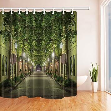 nyngei Decor Straße mit mit Grün, bleibt Polyester-Duschvorhang ...