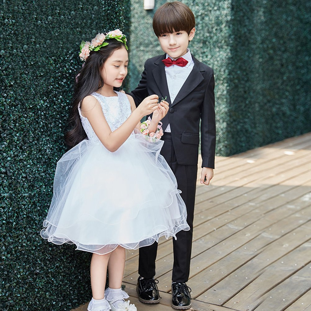 SK Studio Boys' 5 Pieces Wedding Solid Color Dress Formal Suits Black by SK Studio (Image #5)
