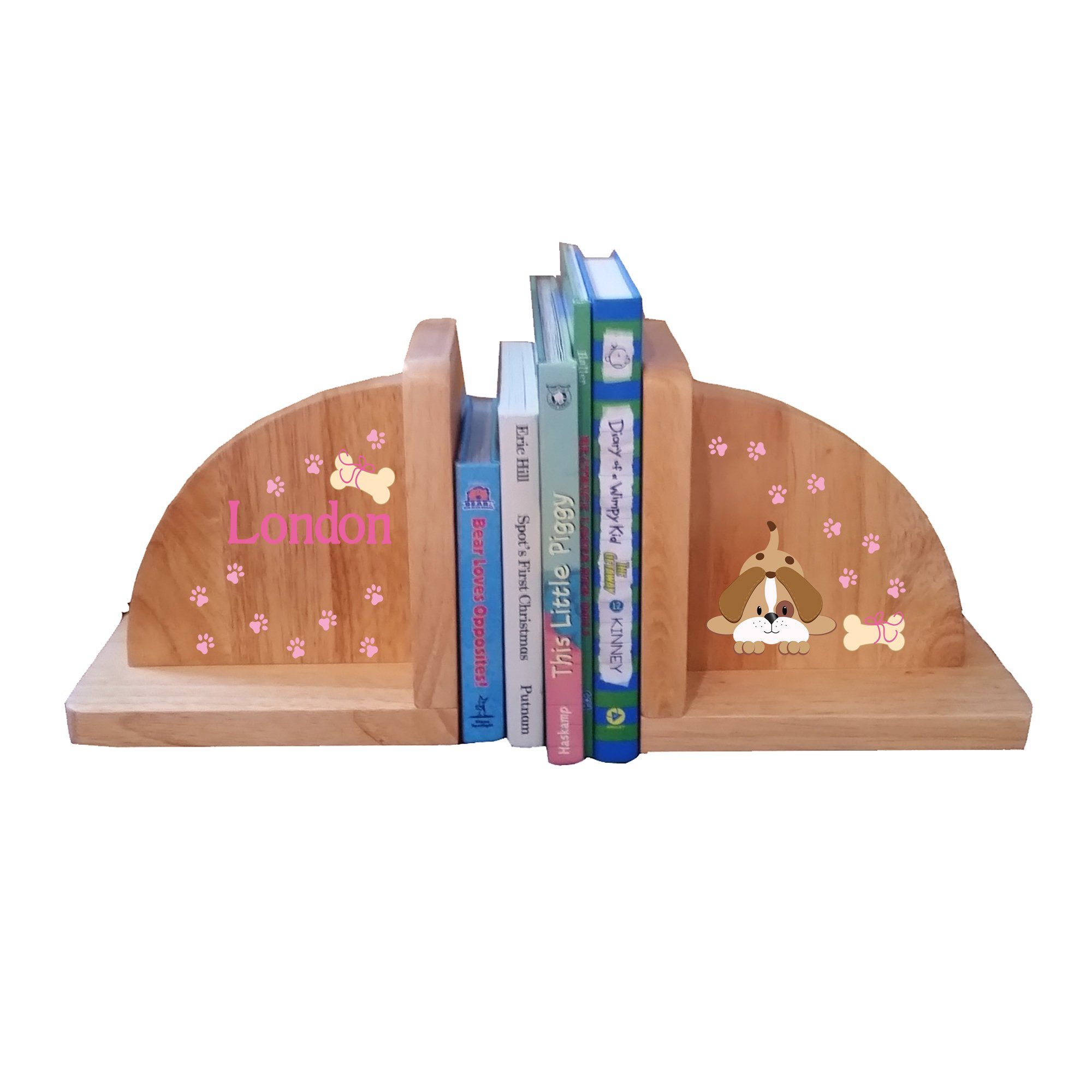 Personalized Puppy Pink Natural Childrens Wooden Bookends