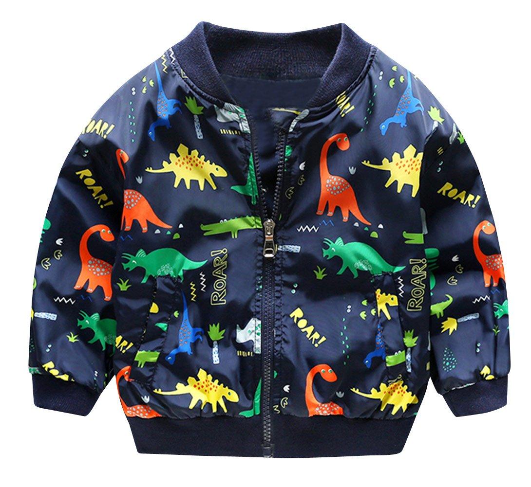 HARVEY JIA Boy's Jacket Warm Cartoon Dinosaur Print Zip Windproof Raincoat 12M