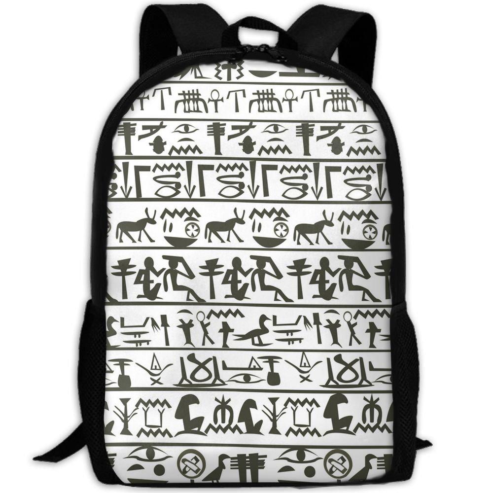 Sara Nell学校バックパックEgyptian Hieroglyphics学校ブックバッグカジュアルアウトドアデイパック旅行用バッグティーンボーイズガールズカレッジ学生 B07F712GDY