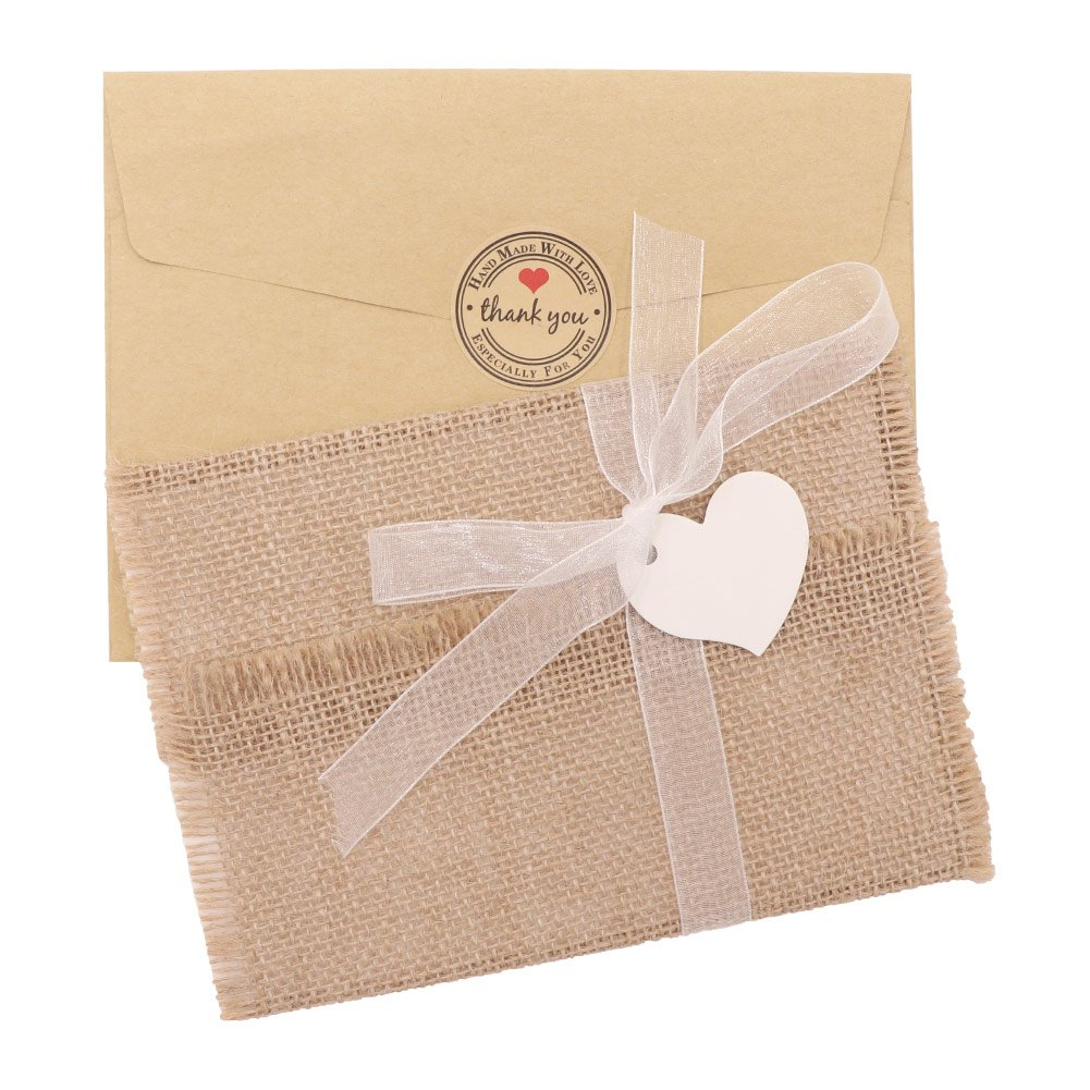 AerWo 50 Pack of Burlap Rustic Wedding Invitations Creative Invitation Cards with Inside Pages, Envelopes, Adhesive Seals, Ribbons and Love Heart Bookmarks for Farm Wedding, Woodland Wedding and Baby Shower