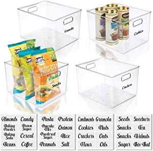 mDesign Plastic Kitchen Storage Organizer Container Bin with Identification Labels & Handles for Pantry, Cabinets, Shelves, Refrigerator, Freezer, Set of 5 - Clear