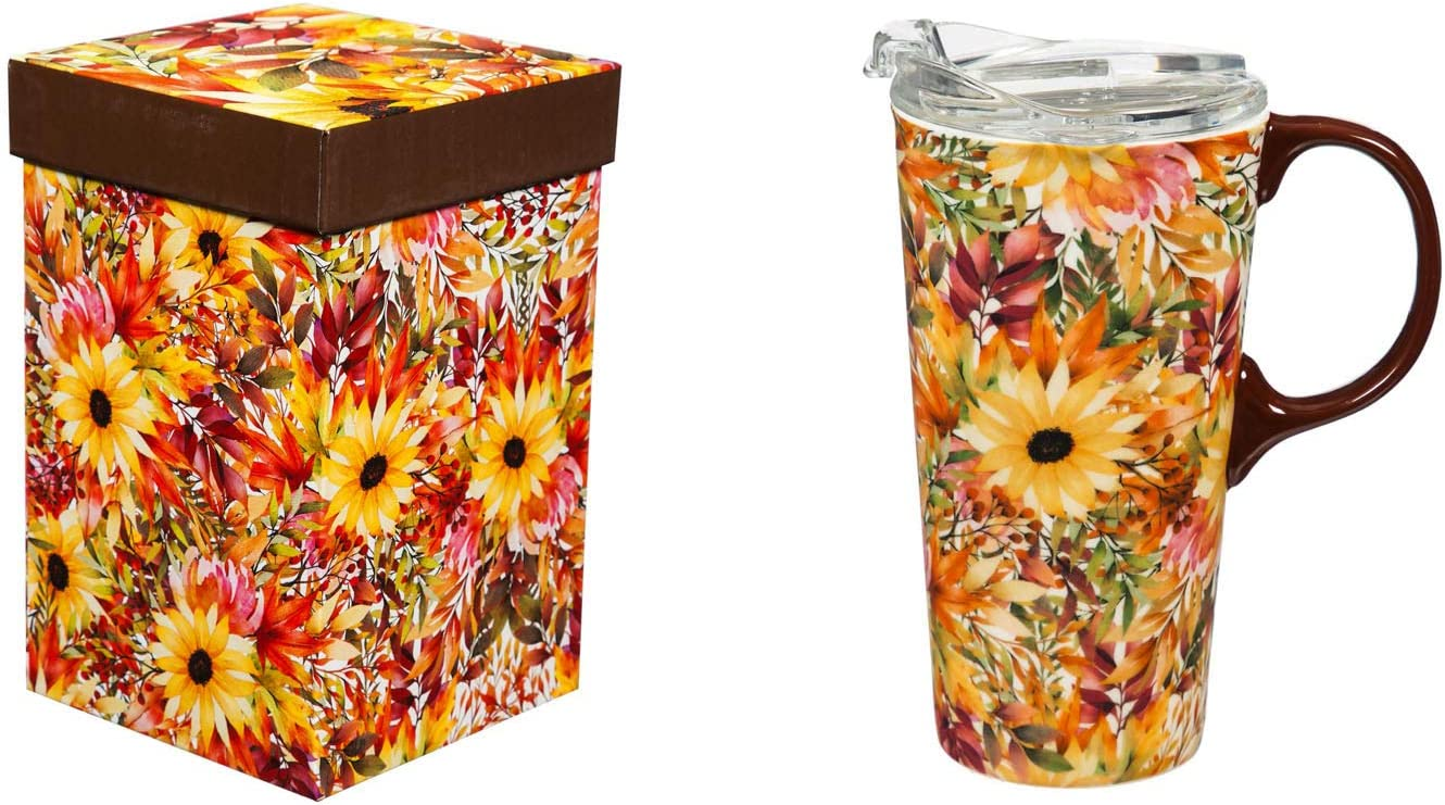 Cypress Home Beautiful Autumn Blessing Pattern Ceramic Travel Cup with Tritan Lid and Matching Box - 4 x 5 x 7 Inches Indoor/Outdoor home goods For Kitchens, Parties and Homes