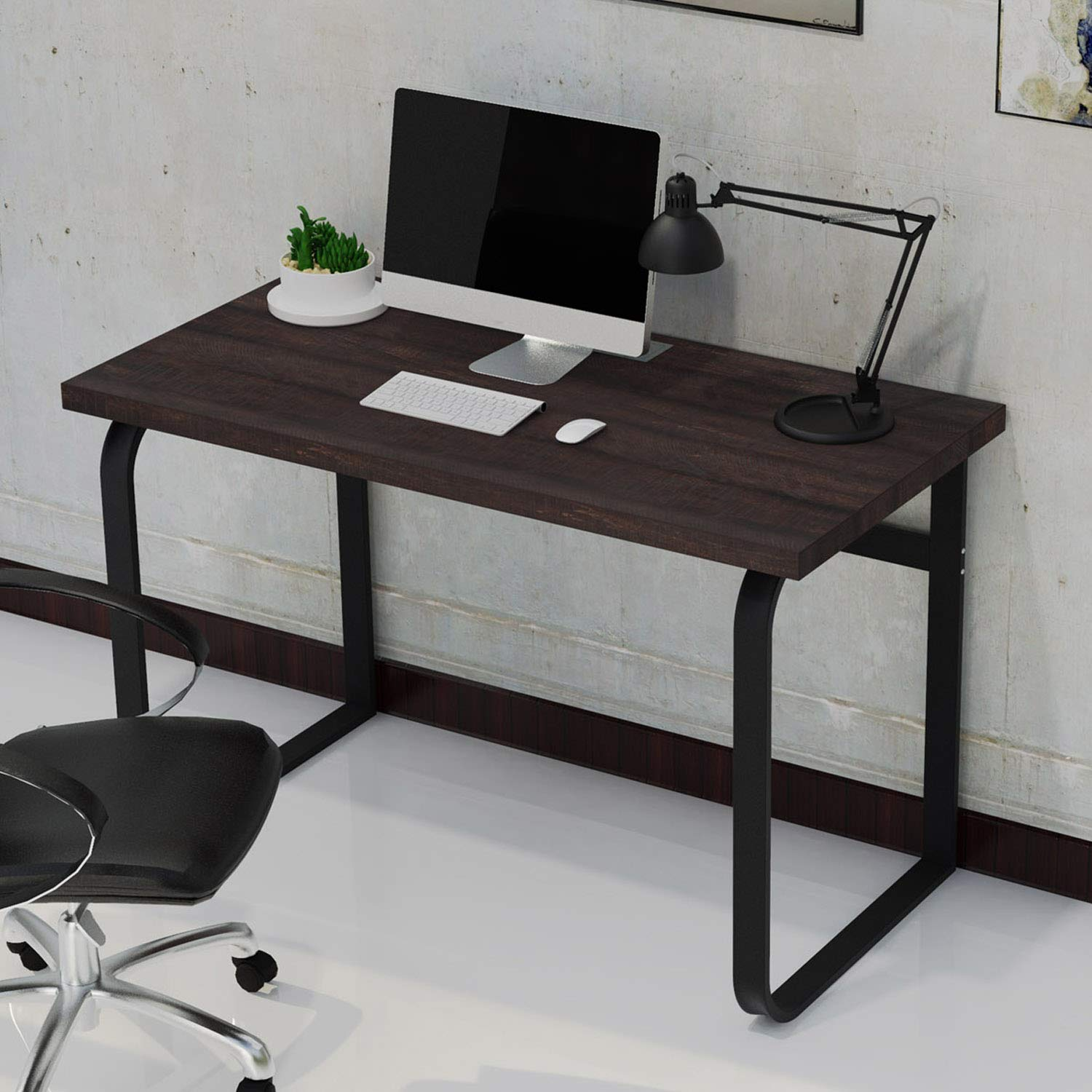 IRONCK Industrial Computer Desk 47 , Wood and Metal Gaming Desk, Simple Writing Study Table Workstation for Home Office, Espresso