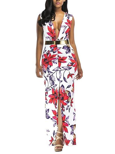 Vestidos Verano Mujer Largos Elegante Impresa Flores Vestido De Fiesta Sin Mangas V Cuello Fashion Casual