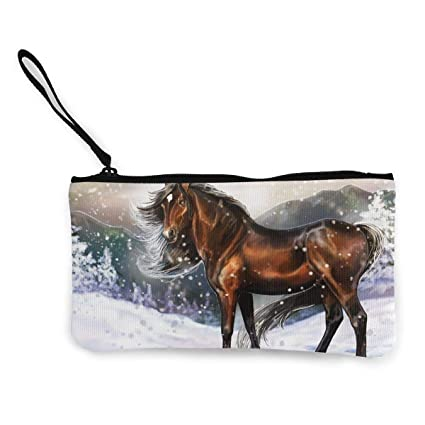 78dceac0facd Amazon.com: Terany Canvas Pencil Case - Art Horse Painting Cosmetic ...