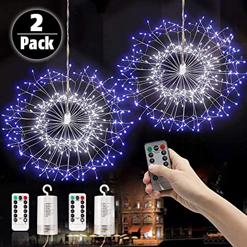 LAMHO 2 Pack Firework Lights, 150 LED Fairy String Lights, Battery Operated Hanging Starburst Light, 8 Modes Dimmable with Remote Control Waterproof Copper Wire Lights for Home, Parties White Blue