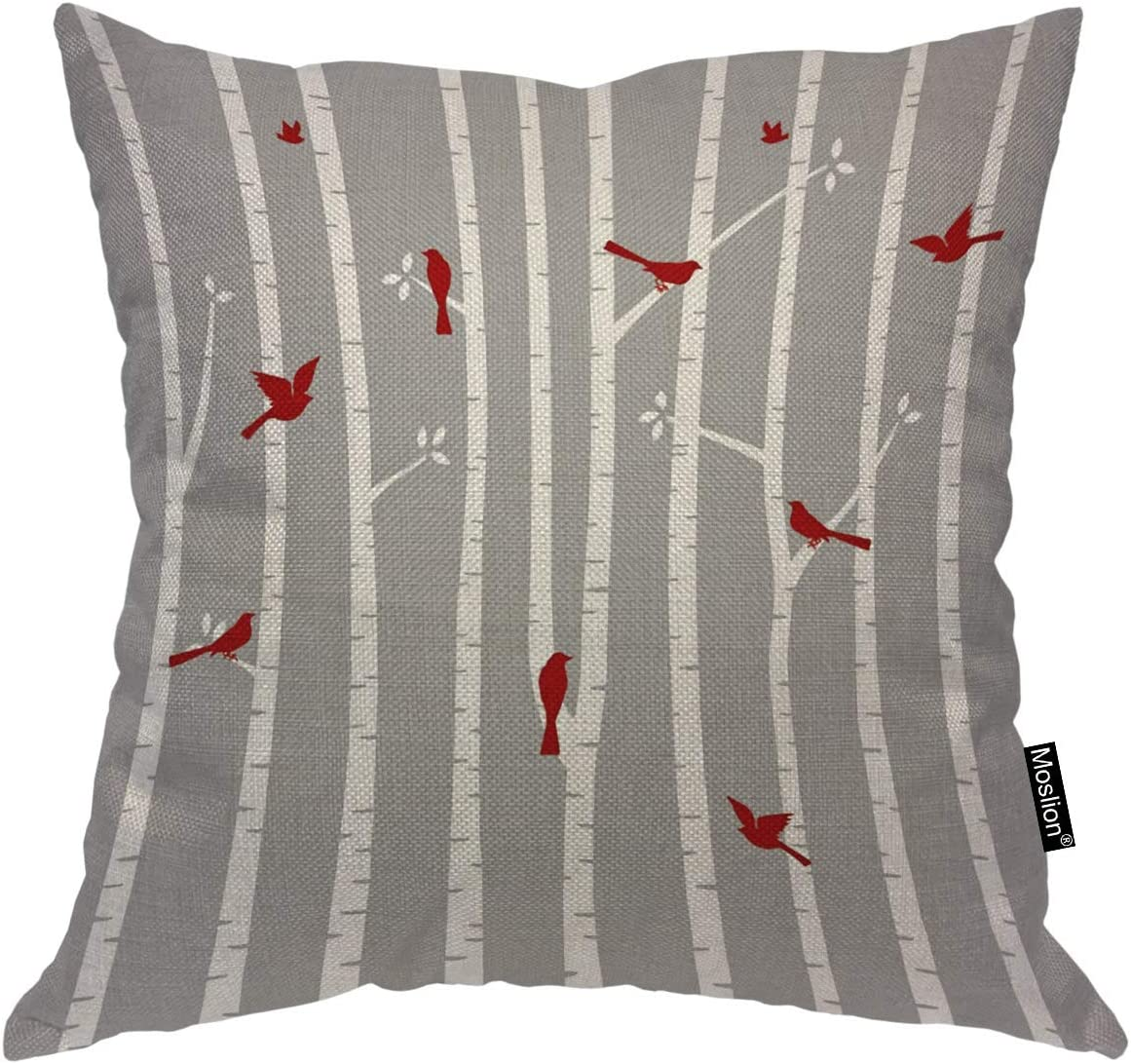 Moslion Throw Pillow Cover Birds in Birch 18x18 Inch Animal Trees Nature Red White Grey Square Pillow Case Cushion Cover for Home Car Decorative Cotton Linen