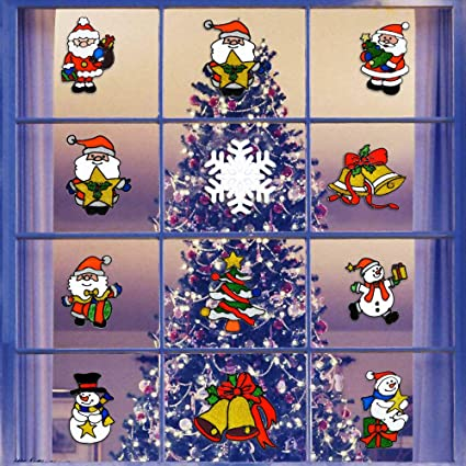 newdanceus 12 pack christmas decorations window clings holiday stickers cute santa claus snowman christmas tree and - Christmas Window Decorations Amazon