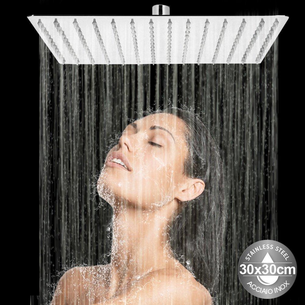 Bakaji Soffione Doccia Bagno Quadrato in Acciaio Inox Ultra Sottile con Ugelli in Silicone da 5mm Snodo a Sfera e Getto Effetto Pioggia Colore Silver (30 x 30 cm)