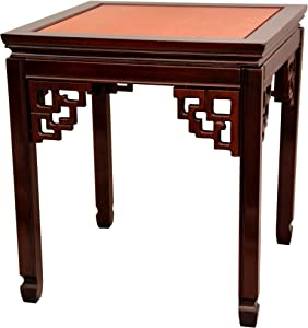 Oriental Furniture Rosewood Square Ming Table - Two-tone