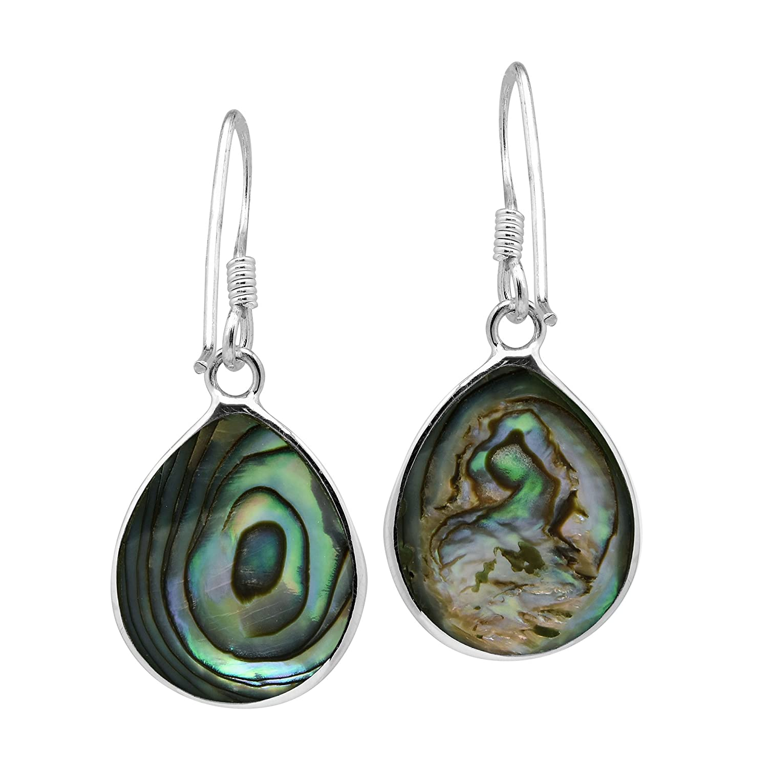 05509b537 Amazon.com: Chunky Teardrop Abalone Shell Inlay .925 Sterling Silver Dangle  Earrings: Jewelry