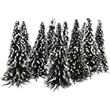10pcs White Dark Green Scenery Landscape Model Cedar Trees 12cm---Scale: 1:75
