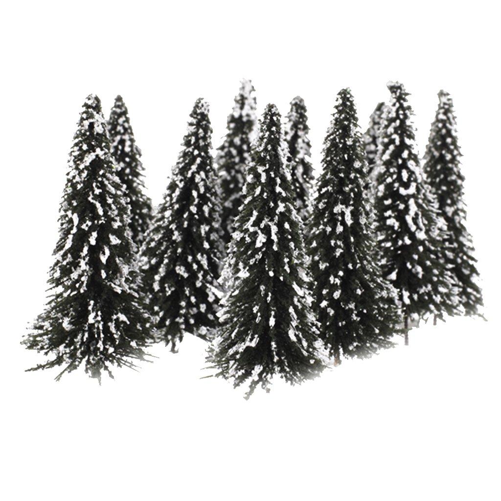 Generic - 10pcs verde paisaje del paisaje modelo cedar trees 12cm --- escala: 1:75, color blanco Generico
