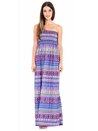 3a99be18573 Womens Ladies Multi Aztec Print Sheering Gather Boobtube Bandeau Maxi Dress   Amazon.co.uk  Clothing