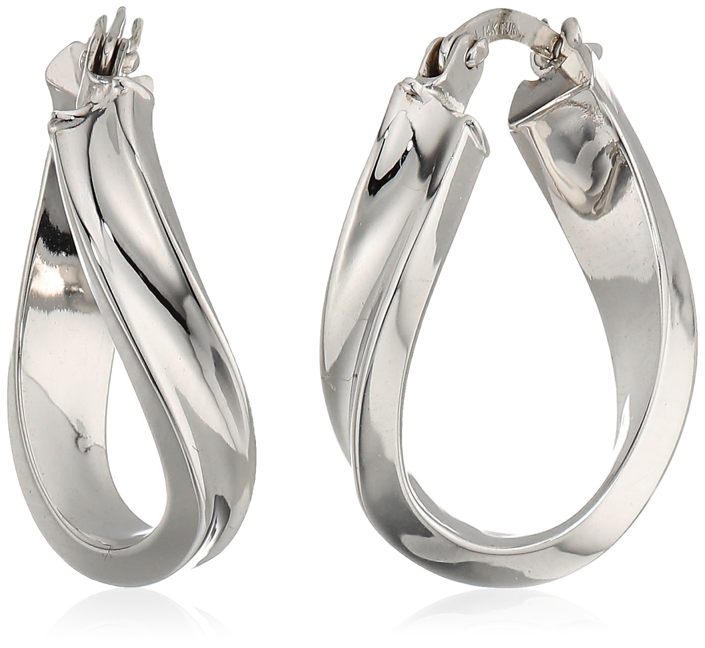 14k white gold wavy hoop earrings