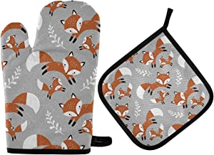 Oven Mitts Pot Holders Set - Cute Fox Heat Resistant Potholders Kitchen Hot Pads Portable Oven Gloves Oven Mits for Cooking BBQ