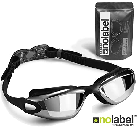 fa6a75fd93 NO LABEL Black Swimming Goggles - Anti Fog Swim Goggles With UV Protection  - Easy Clip