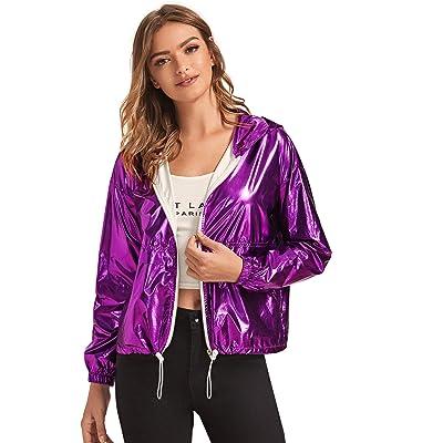 ROMWE Women's Clubwear Jacket Long Sleeve Lightweight Zipper Metallic Hooded Crop Jacket Outwear: Clothing