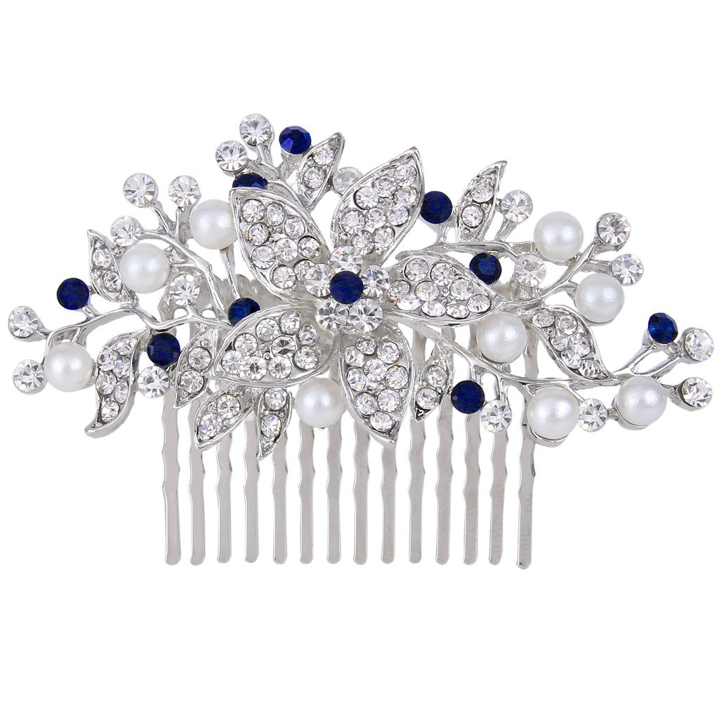 EVER FAITH Silver-Tone Crystal Simulated Pearl Flower Leaf Vine Hair Comb Blue Sapphire-color