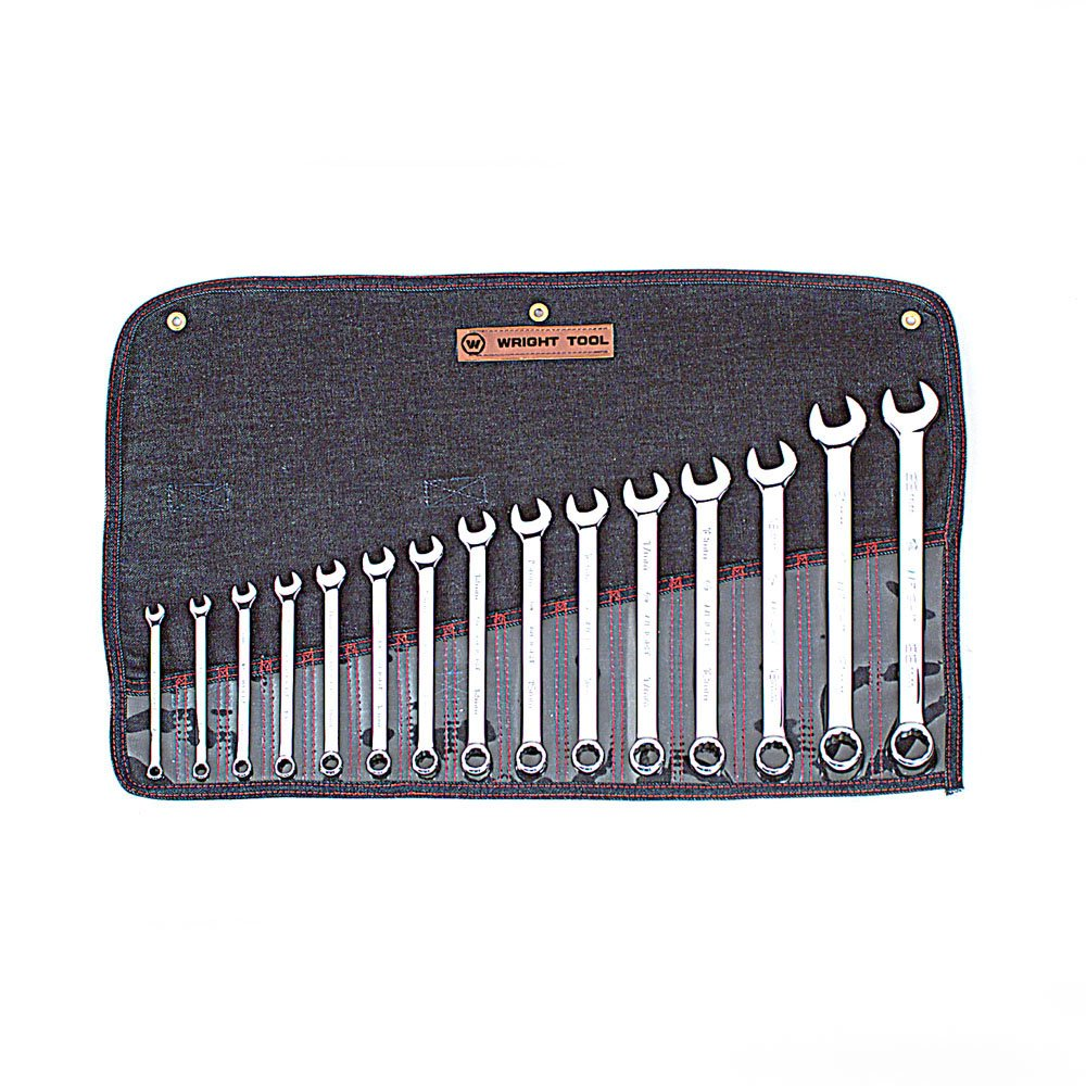 Wright Tool 952 Full Polish Metric 12 Point Combination Wrench Set, 7mm-22mm (15-Piece)