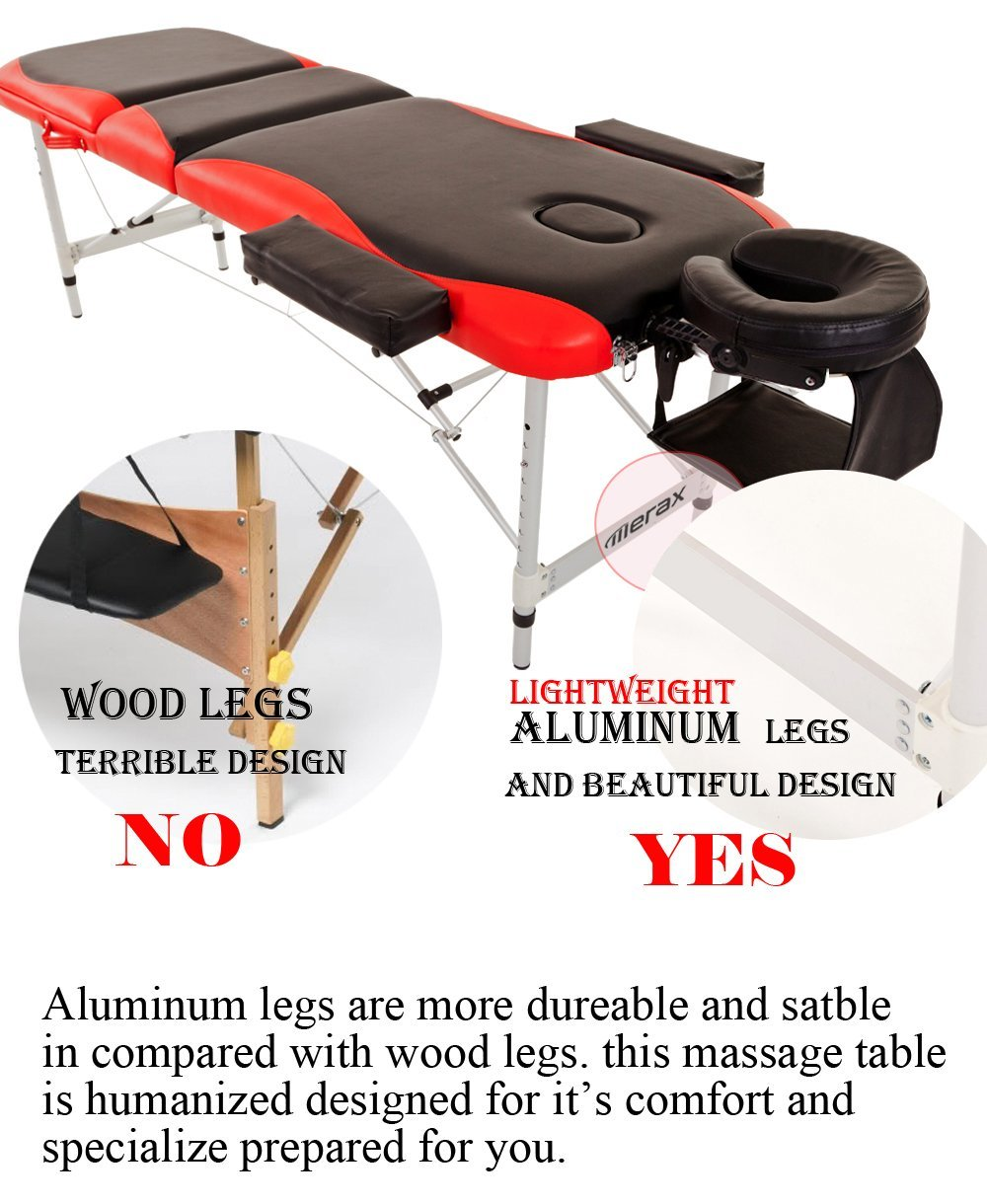 Merax WF015763JAA Aluminium 3 Section Portable Folding Massage Table Facial SPA Tattoo Bed by Merax (Image #2)
