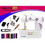 CreativeVia Portable 4 in 1 Mini Sewing Machine with Adapter and Foot Pedal