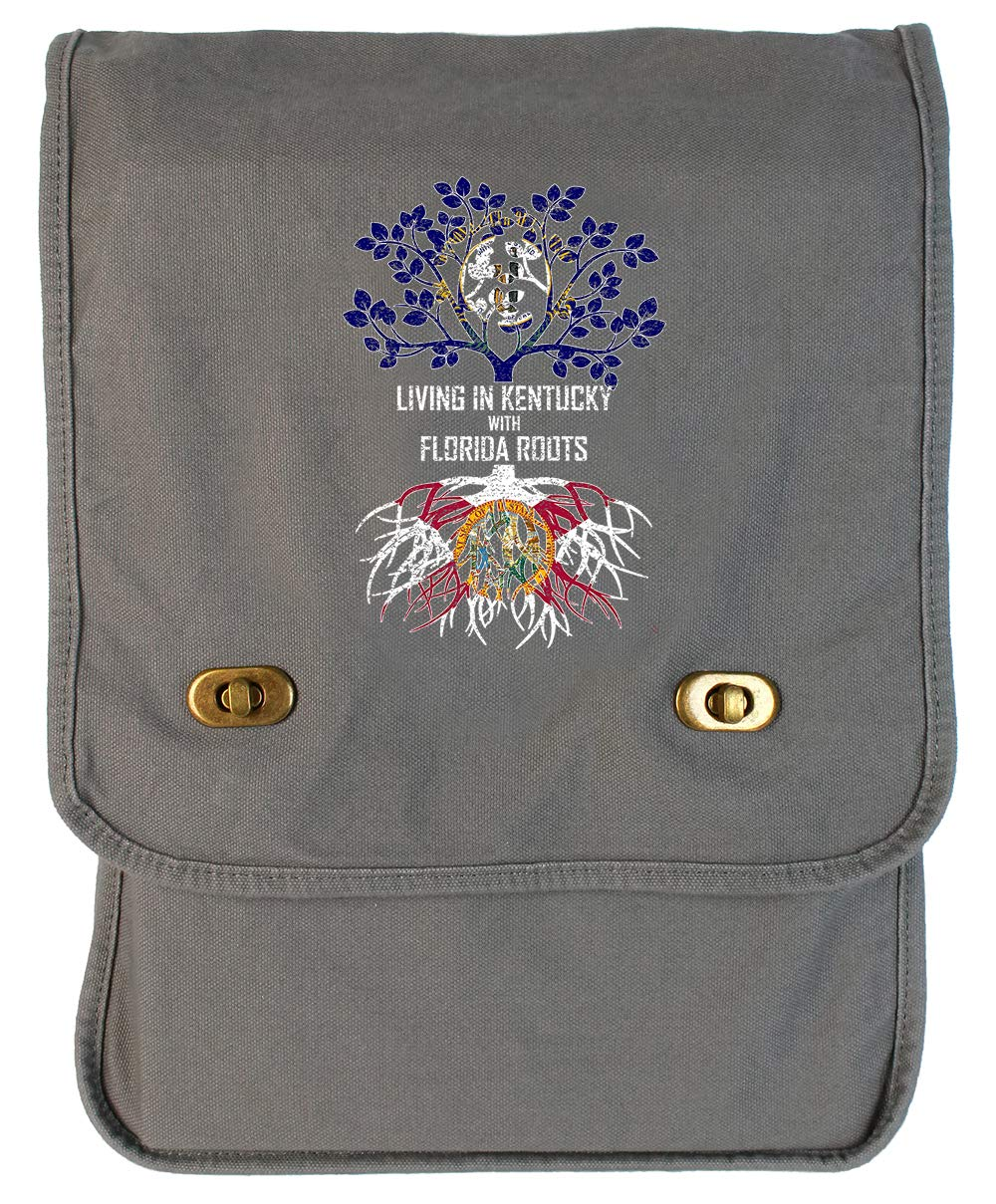 Tenacitee Living In Kentucky with Florida Roots Grey Brushed Canvas Messenger Bag