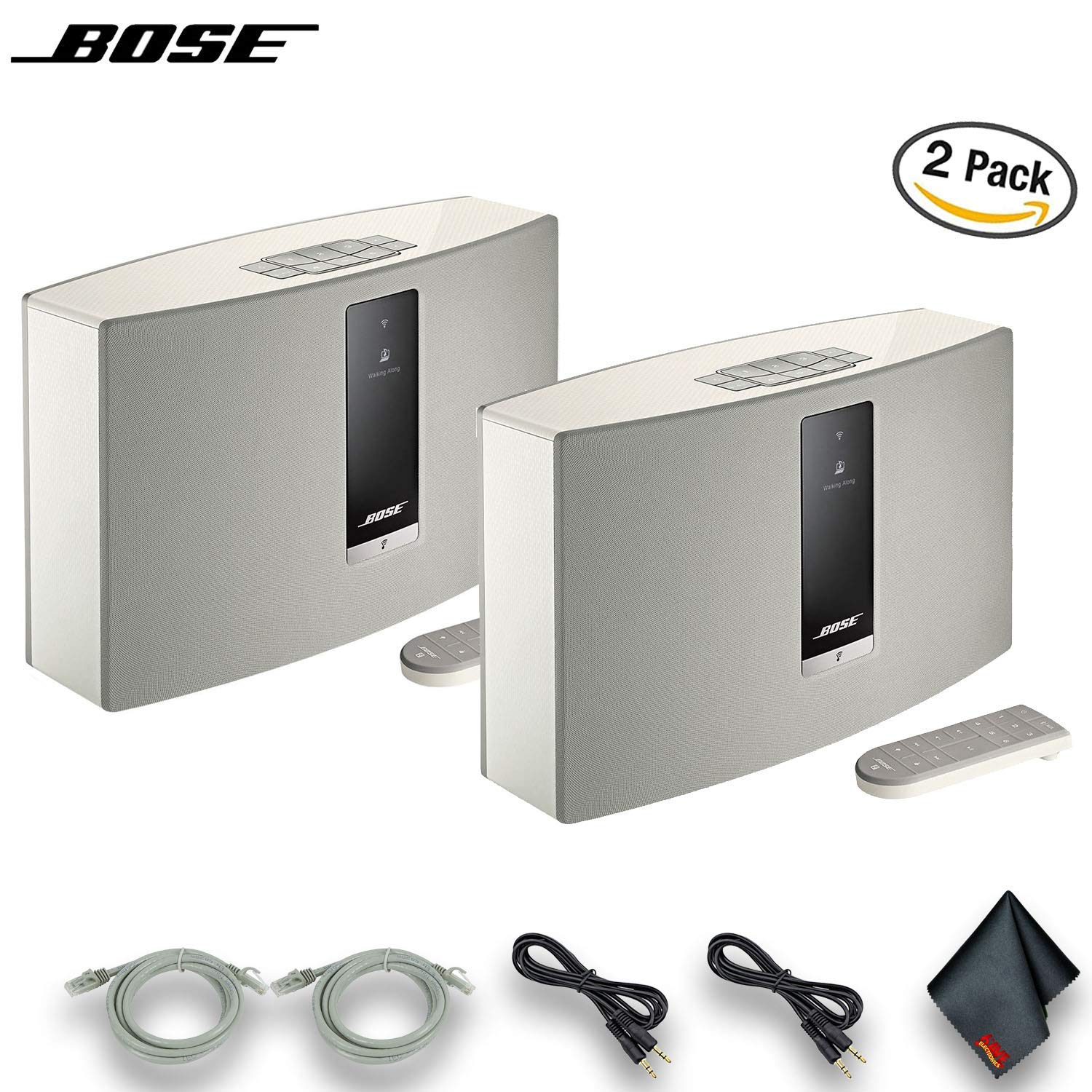 Bose SoundTouch 30 Series III Wireless Music System (White) 2 Pack, W/Network Cables, Aux Cables and More by Bose