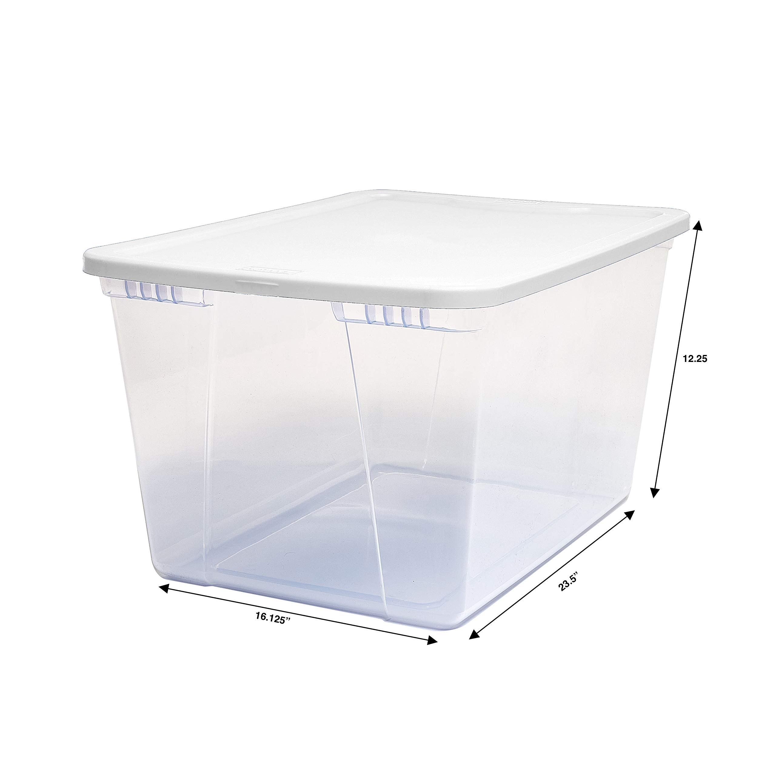Homz 56 Quart Snaplock Container Clear Storage Bin with Lid, 4 Pack, White, 4 Sets by Homz (Image #6)