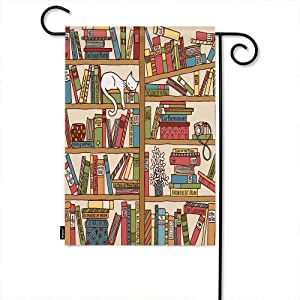 Moslion Book Garden Flag Cartoon Bookshelf with Cute Sleeping Cat Kitten in Library Home Flags 12x18 Inch Double-Sided Banner Welcome Yard Flag Outdoor Decor. Lawn Villa