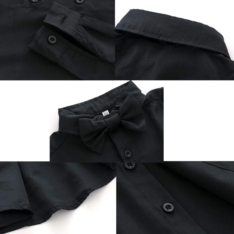 Kimoat Baby Boys Classic Tuxedo Suit 4 Pcs Formal Suits Tailcoat Pants Bowtie T-Shirt