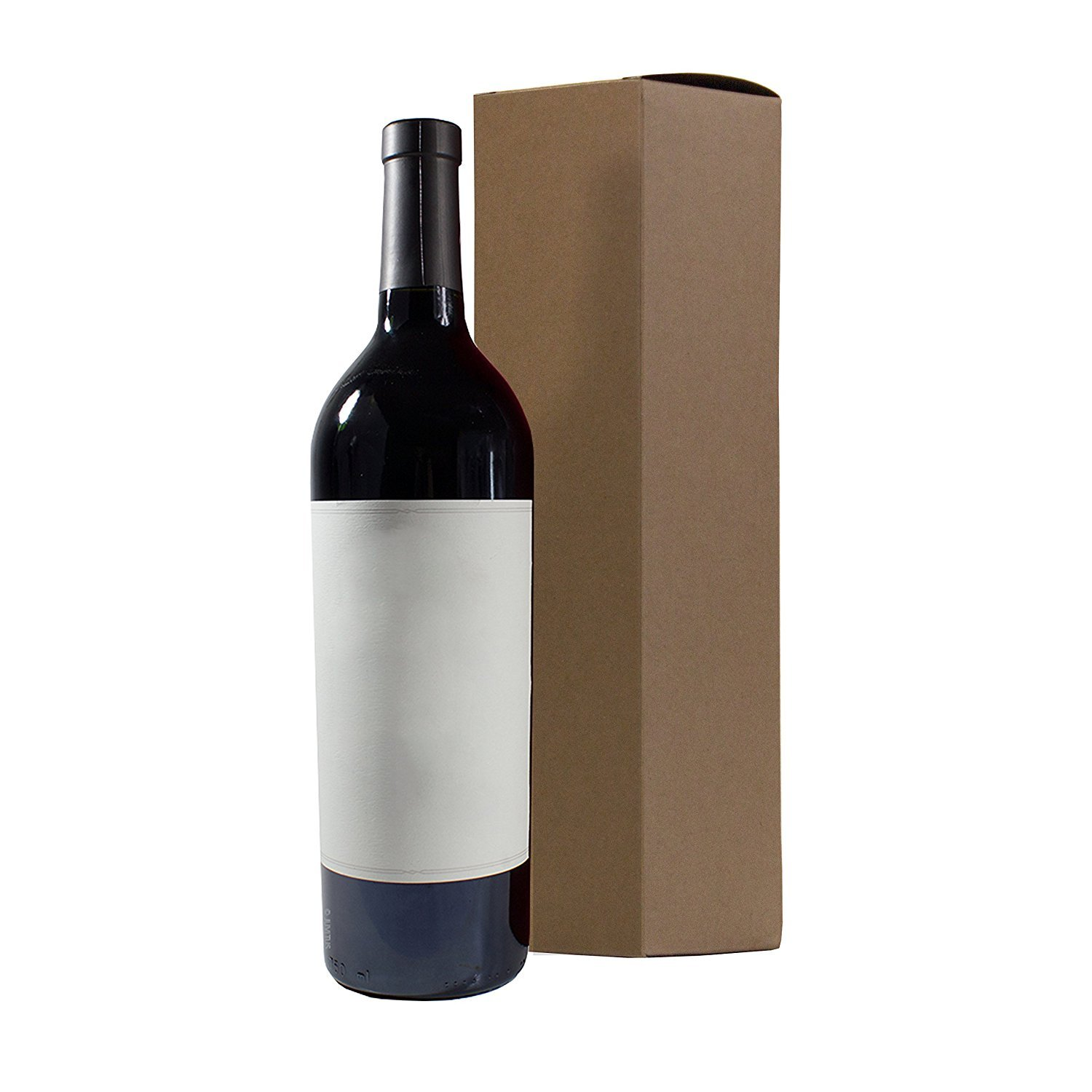 Wine and Liquor Natural Kraft Gift Box - 6 pack - 13.5'' tall for standard size wine bottle + Labels