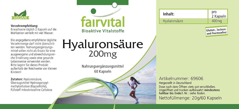 200 mg de ácido hialurónico - 1 mes - VEGANO - ALTA DOSIS - 60 Cápsulas: Amazon.es: Salud y cuidado personal