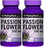 Piping Rock Passion Flower 1100 mg 2 Bottles x 90 Quick Release Capsules Herbal Supplement