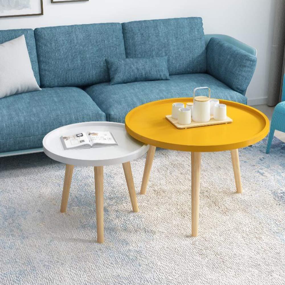 Amazon.com: Living Room Furniture CJC Set Of 2 Tables, MDF Panel Beech  Legs, Round Sofa Side Coffee End Tea, Nesting Multi Purpose (Color :  White+Yellow): ...